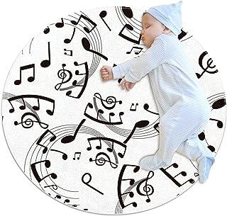 Svartvita musiknoter för barn, rund matta, polyester, prydnadskudde, mjuk pedagogisk tvättbar matta, barnkammare, tipi-täl...