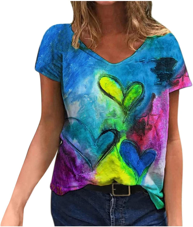 2021 Nuevo Camiseta de Mujer, Verano Moda Impresión Manga Corta Elegante Blusa Camisa Cuello en V Camiseta Casual Suelto Tops Fiesta T-Shirt Original tee Ropa de Mujer