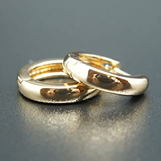 18k Gold plated huggie hoop hinged 13mm sleeper earrings Non-allergenic AUS MADE