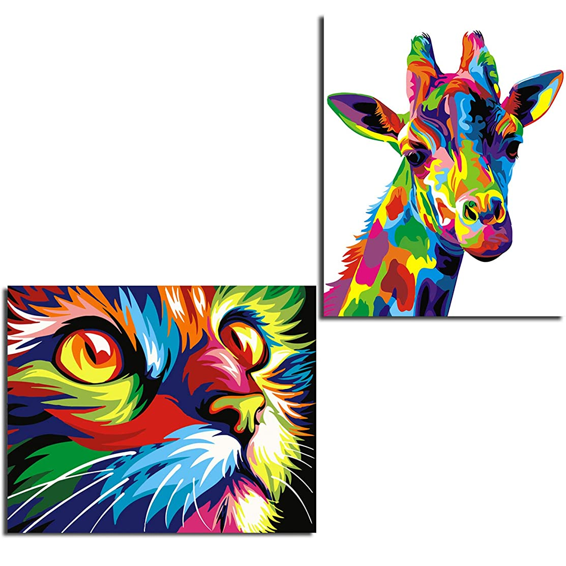 2 Pack Frameless DIY Oil Painting Paint by Number Colorful Giraffe and Cat Wall Art Picture for Kids and Adults,16 x 20 Inches