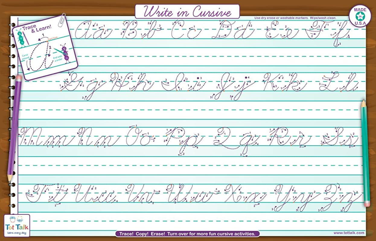 Tot Talk Write In Cursive Activity Educational Placemat For Kids Washable And Long Lasting