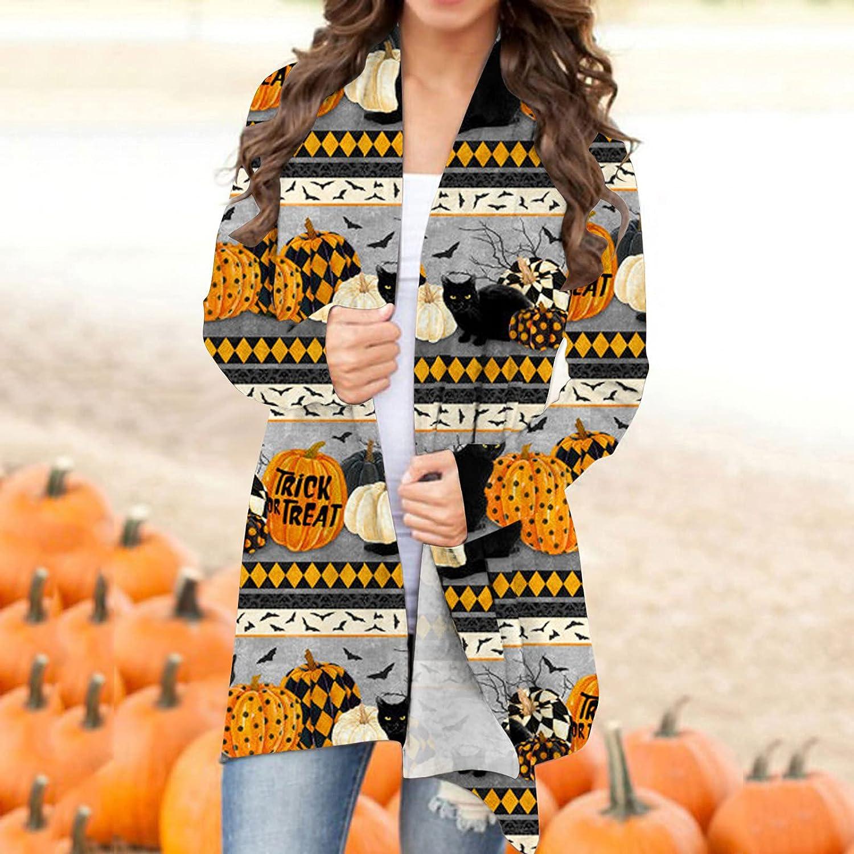 Eoailr Women's Pumpkin Cardigan Halloween Black Cat Ghost Long Sleeve Open Front Knit Sweater Overwear Coat Outwear