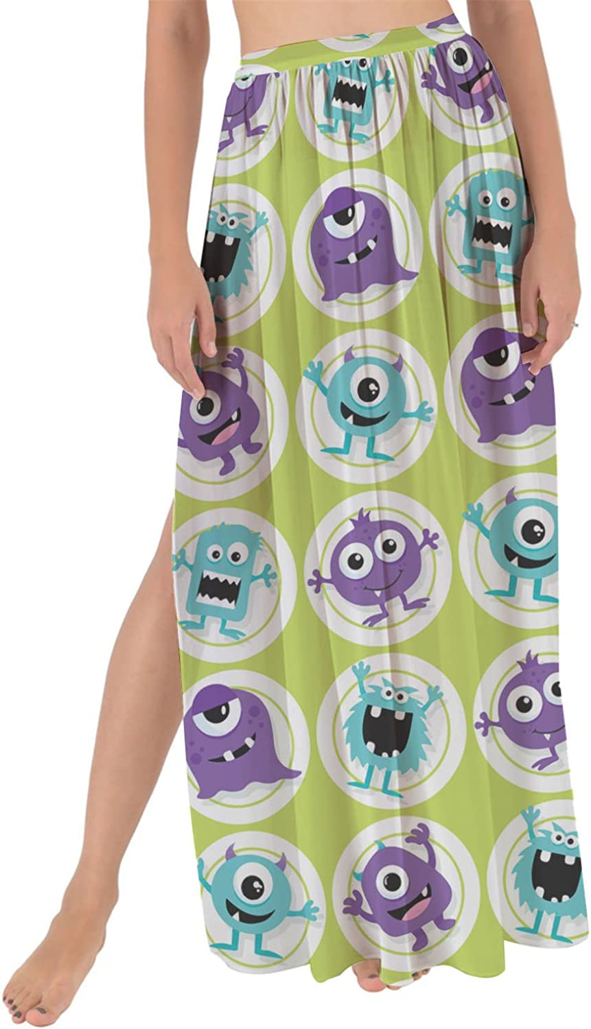Rainbow Rules Funny Monsters Maxi Sarong Skirt