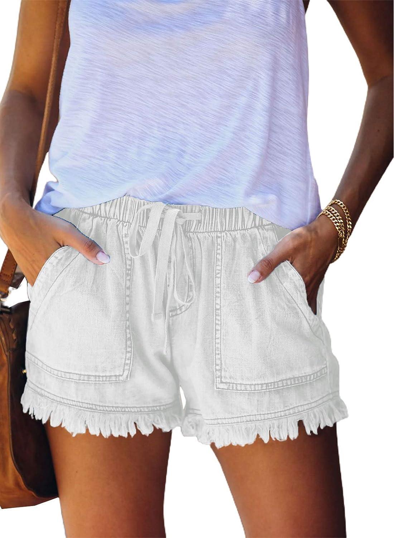 Asvivid Womens Casual Drawstring Elastic Waist Summer Frayed Tencel Shorts with Pockets S-XXL