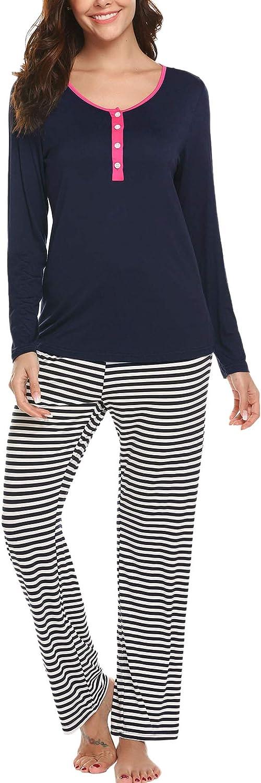 Ekouaer Pajamas Women Long Sleeve Sleepwear Classic Pjs Contrast Printed PJ Set Soft 2 Pcs Sets