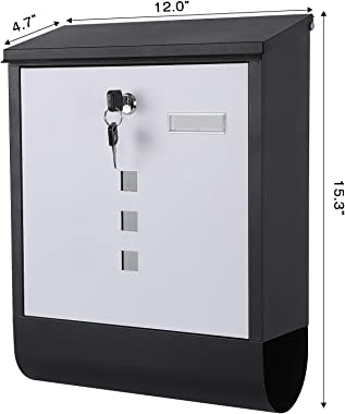 xydled Steel Wall Mount Mailbox with Key Lock,Steel Cover Metal Postbox for House,Large Mail Box with Newspaper Compartment,1