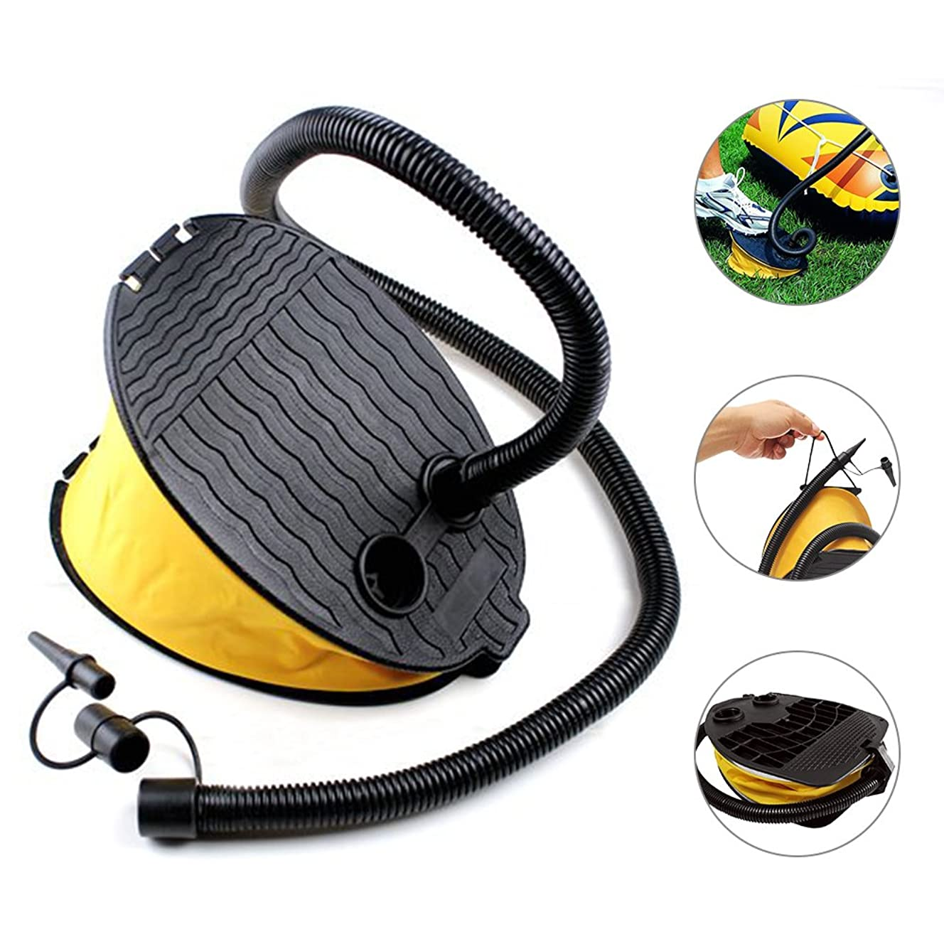 YOUDirect Foot Air Pump for Outdoor Balloon Airbed Inflatable Boat Inflatable Toy Swimming Ring Portable & Light-Weight With Multiple Nozzles, Yellow
