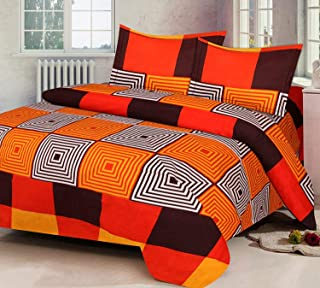 IVAZA Premium 160 TC Latest Beautiful 3D bedsheet Double Bedsheet with 2 Pillow Cover (Orange)