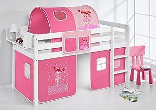 Lilokids Lit Mezzanine JELLE Princesse -lit d'enfant Blanc - avec Rideau - lit 90x200 cm