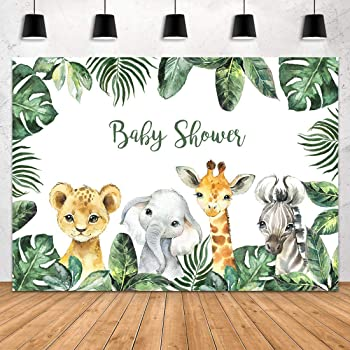 7x10 FT Giraffe Vinyl Photography Backdrop,Baby Safari Animal Romantic Characters Boy and Girl Mascots Background for Baby Birthday Party Wedding Graduation Home Decoration