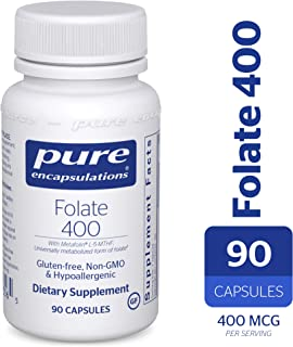 Pure Encapsulations - Folate 400 - Hypoallergenic Supplement with Metafolin L-5-MTHF - 90 Capsules