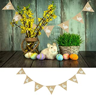 Faylapa Bunny Decorative Burlap Flags Banners Bunting for Easter Party Favors Decoration Spring Photo Prop