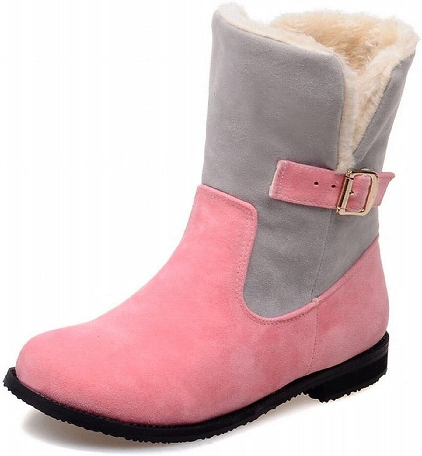 Jean Sche Sweat Women's Buckle Assorted colors Winter Fashion Warm Low Heel Snow Boots