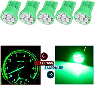 cciyu 194 Extremely Bright LED Bulbs Interior Lights T10-6-3020-SMD Dashboard Gauge Light Speedometer Odometer Tachometer LED light Instrument Panel Light Wedge T10 168 2825 W5W Green Pack of 5