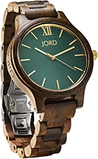 JORD Wooden Wrist Watches for Men or Women - Frankie Minimalist Series/Wood Watch Band/Wood Bezel/Analog Quartz Movement - Includes Watch Box