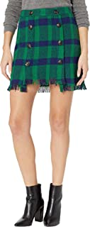 Women's Fringed Mini Skirt with Button Detail