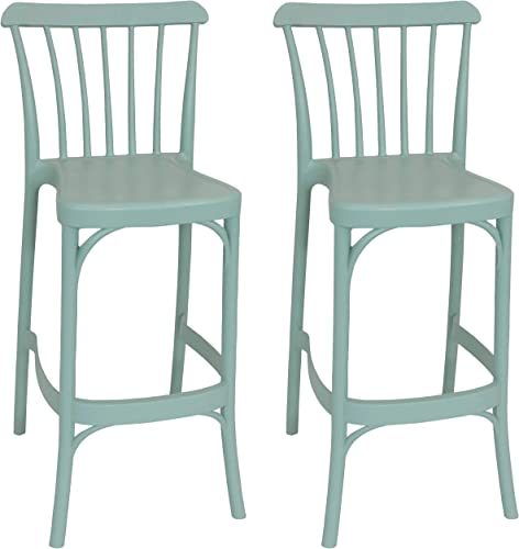 discount Sunnydaze Woodway All-Weather Plastic Patio Barstool Seat - 2021 Modern Design - Commercial Grade Deck, Lawn and Garden Seat - Indoor or Outdoor Use - Nile online sale Green - 2 Stools online