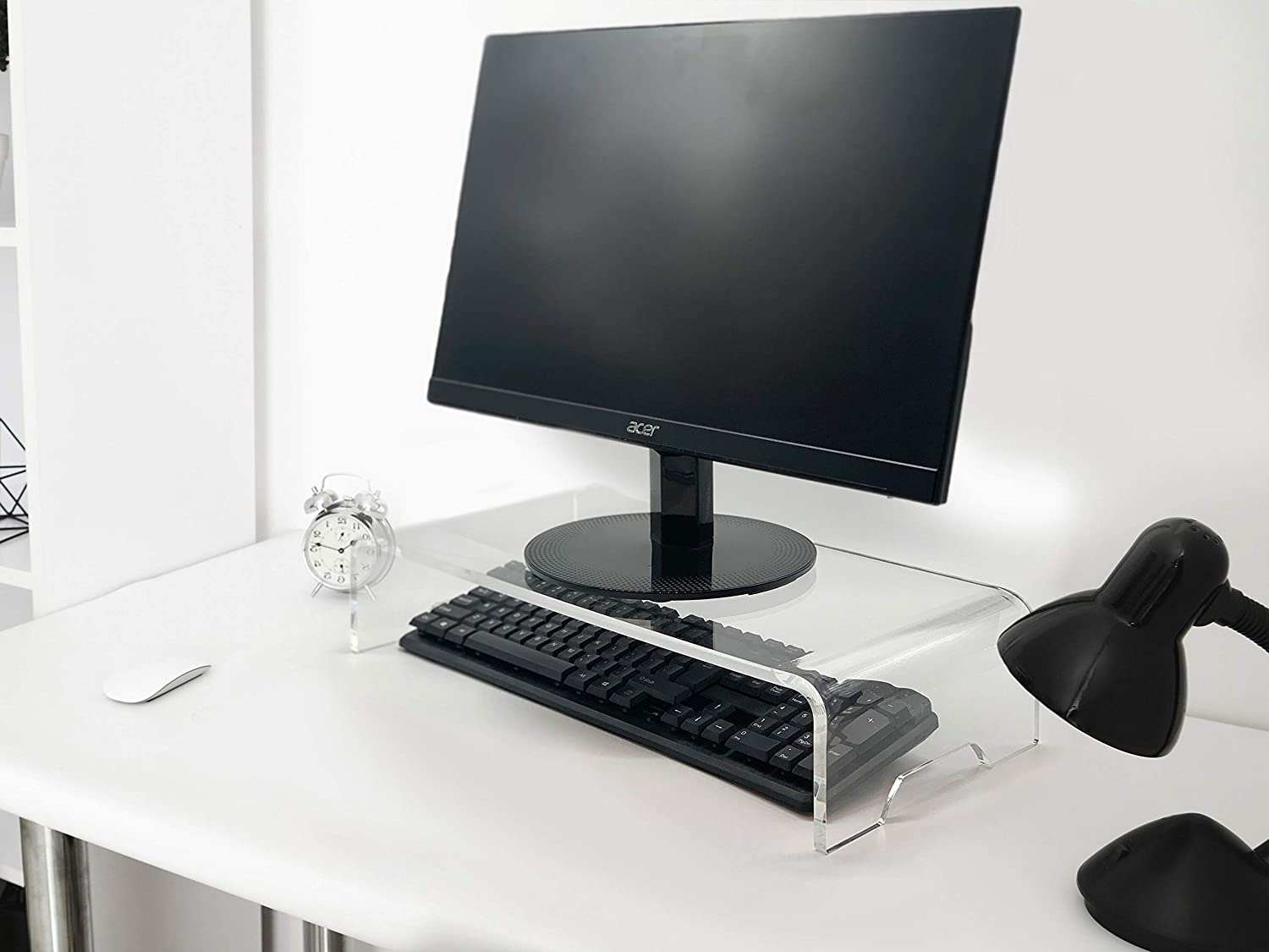 Made in The USA Laptop Riser for Zoom Conference Calls Clear Computer Stand, Acrylic Computer Monitor Riser, Holds up to 40lbs Desktop Monitor Stand, 12MM Thickness Computer Stand for Home Office