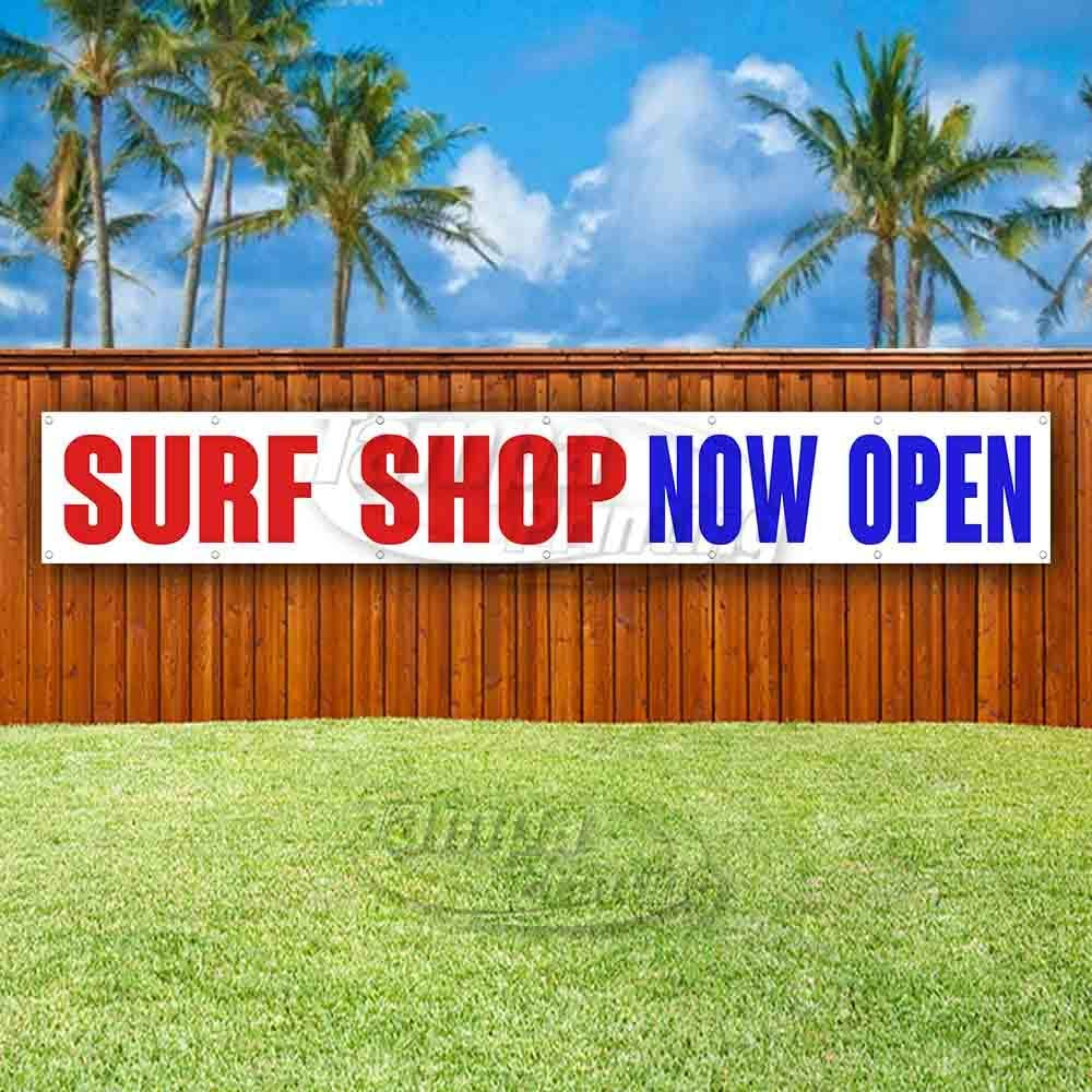 Surf Shop Now Open Extra Large 13 oz Banner Heavy-Duty Vinyl Single-Sided with Metal Grommets