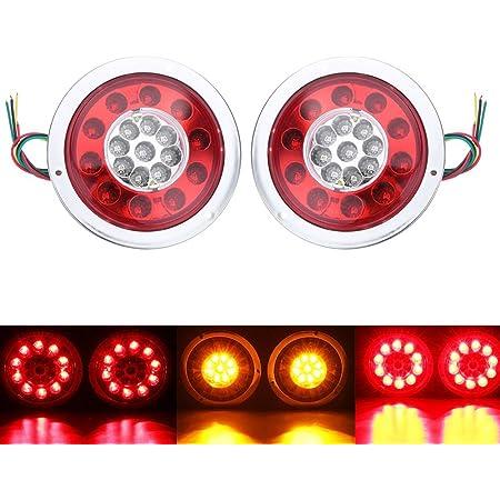 Hehemm Rücklicht 19 Led Rund Bremslicht Seitenleuchte Bernsteinfarben Rot Für Lkw Anhänger Bremslicht Blinker Bremslicht Signallicht 10 30 V 2 Stück Silber Auto