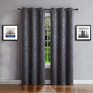 Warm Home Designs 1 Pair (2 Panels) of Extra Long Charcoal Color Insulated Thermal Blackout Curtains with Embossed Textured Flower Pattern. Each Window Panel is 38