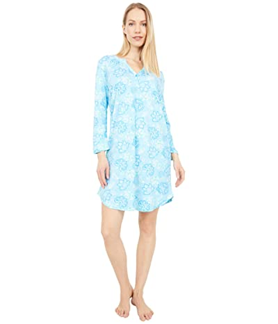 Karen Neuburger All The Raj Long Sleeve Nightshirt (Blue Topaz Floral) Women