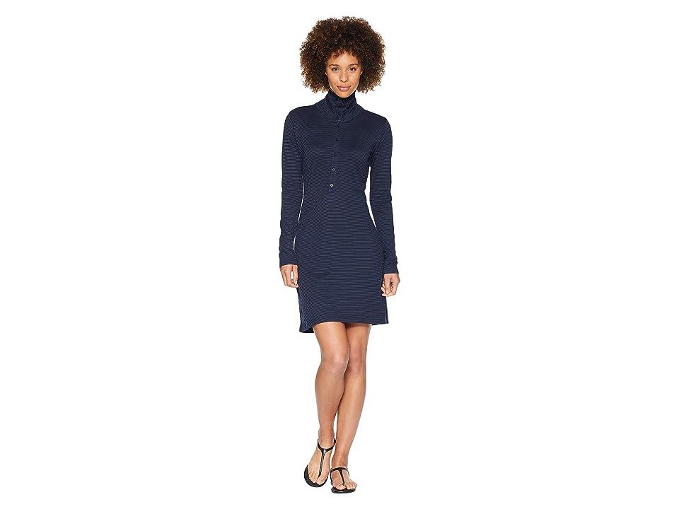 NAU Long Sleeve Kanab HW Dress (Indigo Stripe) Women
