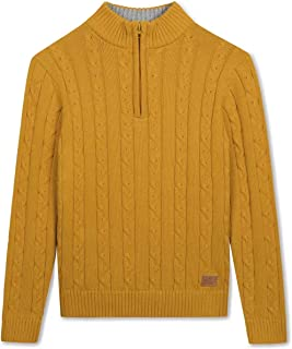 Kid Nation Boys' Sweater Long Sleeve Pullover Casual Zip Half Placket Cable Knit Cotton Sweater