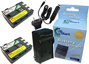 2 Pack - Replacement for Canon Optura 500 Battery + Charger with Car & EU Adapters - Compatible with Canon NB-2LH Digital Camera Battery and Charger (1800mAh 7.4V Lithium-Ion)