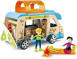 Hape Adventure Van, Pretend Play with Action Figures ,L: 12.2, W: 6.7, H: 5.7 inch