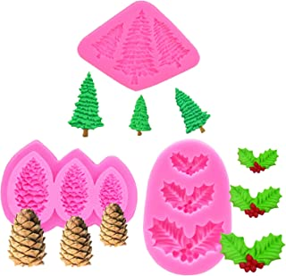 MoldFun 3-Pack Christmas Tree/Pine Cone/Holly Leaf Silicone Mold for Fondant Chocolate Candy Gum Paste Polymer Clay Resin Kitchen Baking Sugar Craft Cake Cupcake Decorating Tools