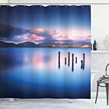 Ambesonne Nature Shower Curtain, Wooden Pier Tops Remain in Lake with Sunset Mirror Image Out Different Perspectives, Cloth Fabric Bathroom Decor Set with Hooks, 70 Long, Royal Blue