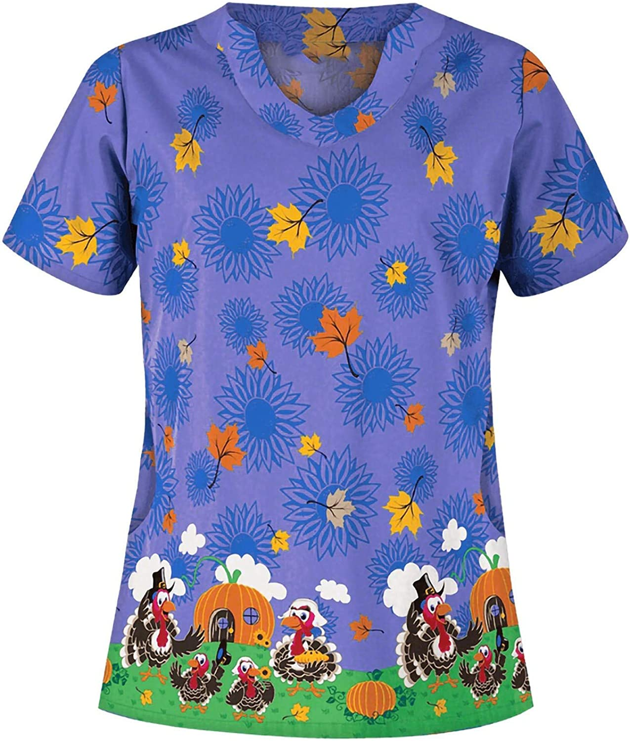 Fresno Mall Qinday Women's Holiday Tops Opening large release sale Cute Cartoon Print V-Neck Scrub_Top