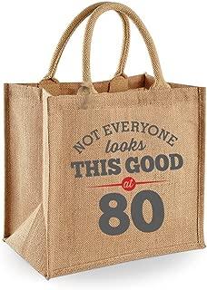 80th Birthday Keepsake Gift Bag Present for Women Novelty Jute Shopping Tote