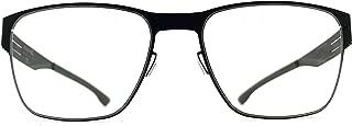 ic! berlin Hannes S. Rectangular Stainless Steel Glasses in Black, Patented Screwless Hinge & Flexible Design