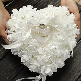 Yosoo Wedding Ring Pillow Heart Box With Ribbon Pearl Wedding Ceremony For Wedding Supplies Gift