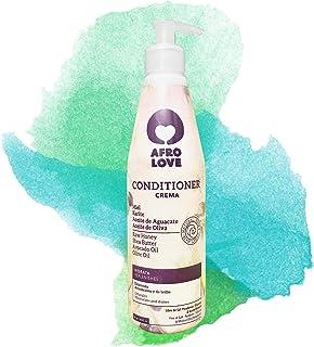 Afro Love acondicionador sin siliconas sin sulfatos sin parabenos para cabello rizado 290ml con miel pura manteca de kari...