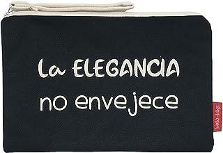 Hello-Bags Bolso Neceser/Cartera de Mano Algodón 100% Negro con Cremallera y Forro Interior 23 * 15,5 cm Incluye sobre Kra...