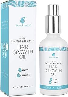 Natural Hair Growth Oil with Biotin and Caffeine, Hair Growth Serum for Stronger, Thicker, Longer Hair 1.7 oz