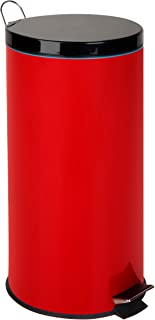 Honey-Can-Do TRS-03026 30-Liter/8-Gallon Stainless Steel Step Trash Can with Liner, Ruby Red