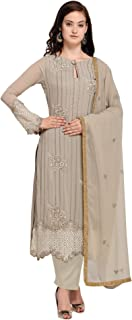 AKHILAM Women's Georgette Embroidered Semi Stitched Salwar Suits Dress Material Set (Grey_Free Size)