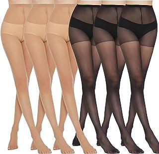 MANZI Women's Black (3 Pairs) Natural Nude (3 Pairs) Sheer Soft Tight 20 Denier