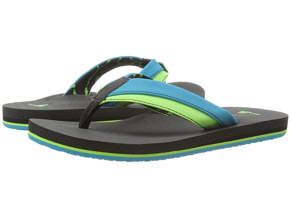 Sanuk Kids Rootbeer Cozy Light (Little Kid/Big Kid) (Ocean/Lime) Boys Shoes