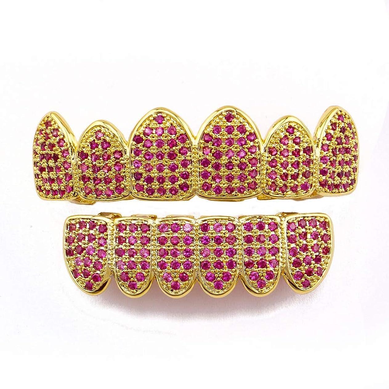 アベニュー定常汚すYHDD ゴールドメッキのピンクのラインストーンゴールドGrillzセット女性用
