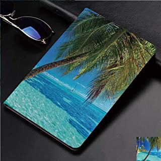 Fashion Print Case for iPad 2,iPad 3,iPad 4,Soft Back Slim TPU Leather Smart Cover Case,Auto Sleep/Wake,with The Palm Trees and Clear Sea Beach Theme