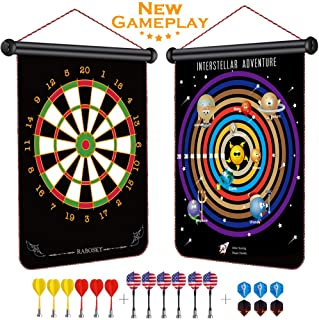 Rabosky Kids Magnetic Dart Board - 12pcs Safety Magnetic Darts & 6 Extra Dart Flights and Drawstring Bag - Interstellar Adventure New Gameplay - Cool Boys Toys for Age 5 6 7 8 with Gift Package