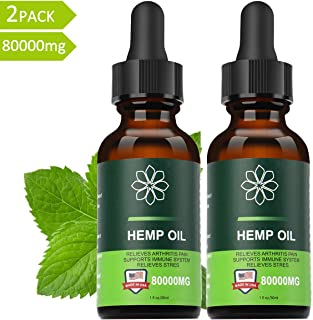 Hemp Oil Extract 80000mg for Pain, Anxiety & Stress Relief - Made in USA - Help for Skin & Sleep - 2 Pack