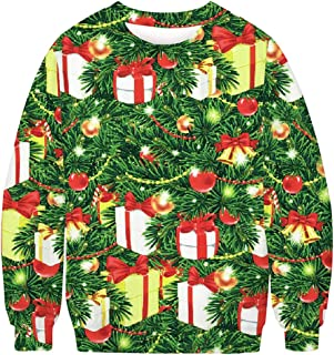 Mens Christmas Ugly Sweater Funky 3D Xmas Graphic Print Pullover Long Sleeve Sweatershirts