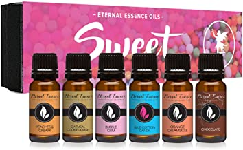 Sweet Gift Set of 6 Premium Grade Fragrance Oils - Bubble Gum, Orange Creamsicle, Peaches & Cream, Blue Cotton Candy, Oatmeal Cookie Dough, Chocolate - 10Ml - Scented Oils