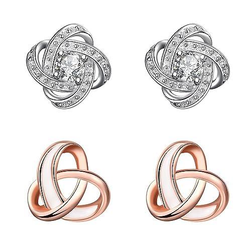 a793da6a71d1 Lictin 2 Pairs Gold Plated Earrings Tricyclic Stud Earrings 18K Rose Gold  Plated Tricyclic Stud Earrings